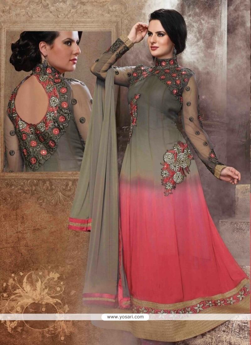 Miraculous Pink Georgette Anarkali Suit