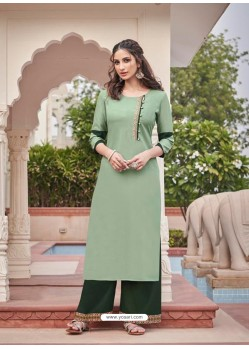Sea Green Designer Readymade Party Wear Kurti With Palazzo