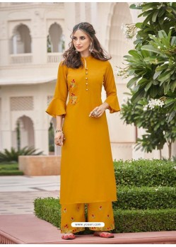 Mustard Designer Readymade Party Wear Kurti With Palazzo