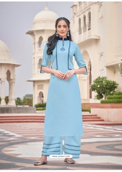 Sky Blue Designer Readymade Party Wear Kurti With Palazzo