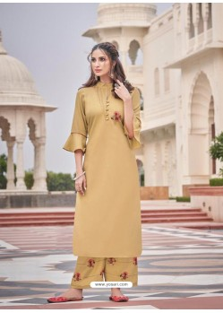 Beige Designer Readymade Party Wear Kurti With Palazzo