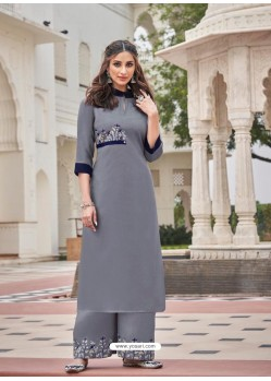 Grey Designer Readymade Party Wear Kurti With Palazzo