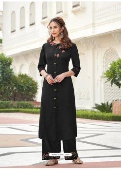 Black Designer Readymade Party Wear Kurti With Palazzo