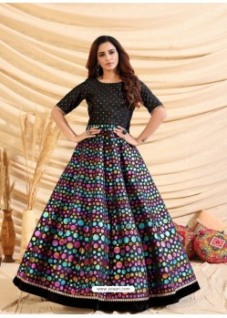 Black Designer Party Wear Tafetta Silk Western Gown