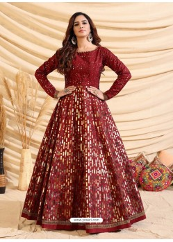 Maroon Designer Party Wear Tafetta Silk Western Gown