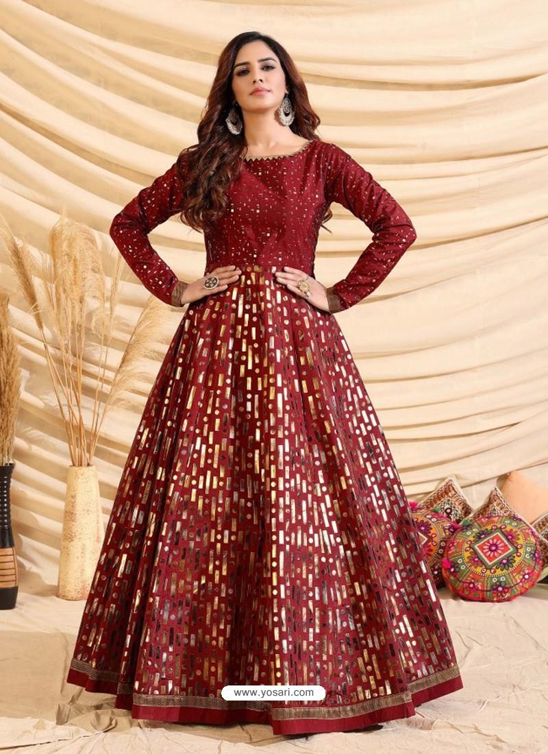 Maroon Designer Party Wear Tafetta Silk Western Gown