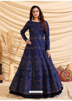 Navy Blue Designer Party Wear Tafetta Silk Western Gown