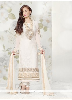Off White Brasso Georgette Churidar Suit