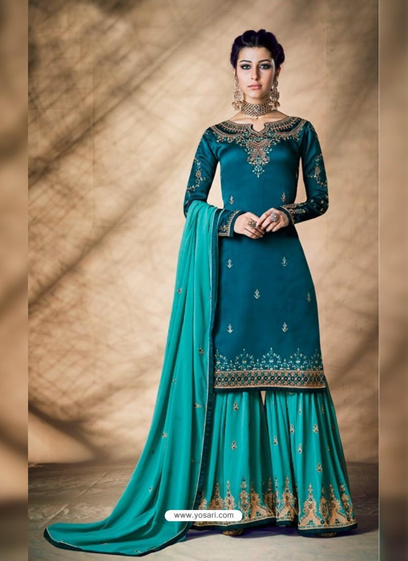 Teal Blue Designer Party Wear Silk Blend Sharara Suit