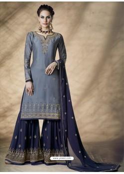 Grey Designer Party Wear Silk Blend Sharara Suit