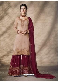 Light Orange Designer Party Wear Silk Blend Sharara Suit