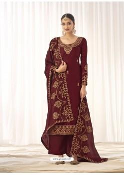 Maroon Latest Designer Tussar Silk Salwar Suit