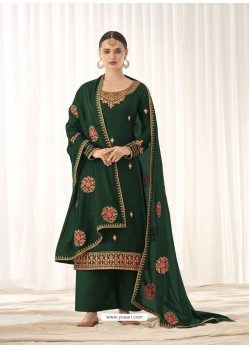 Dark Green Latest Designer Tussar Silk Salwar Suit