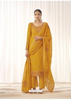 Yellow Latest Designer Tussar Silk Salwar Suit