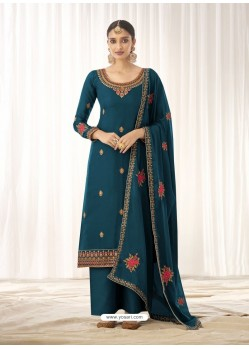 Teal Blue Latest Designer Tussar Silk Salwar Suit