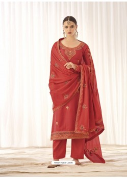 Light Red Latest Designer Tussar Silk Salwar Suit