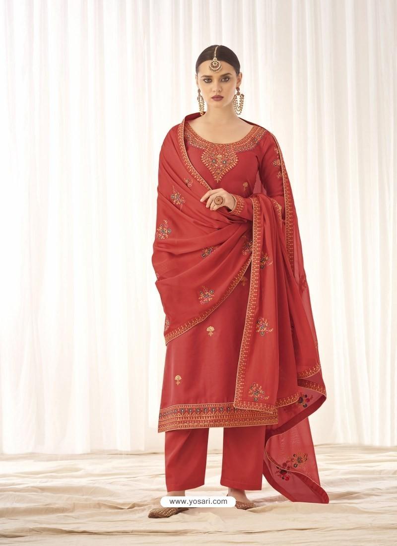 Light Red Latest Designer Tussar Silk Salwar Suit