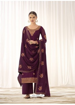 Purple Latest Designer Tussar Silk Salwar Suit
