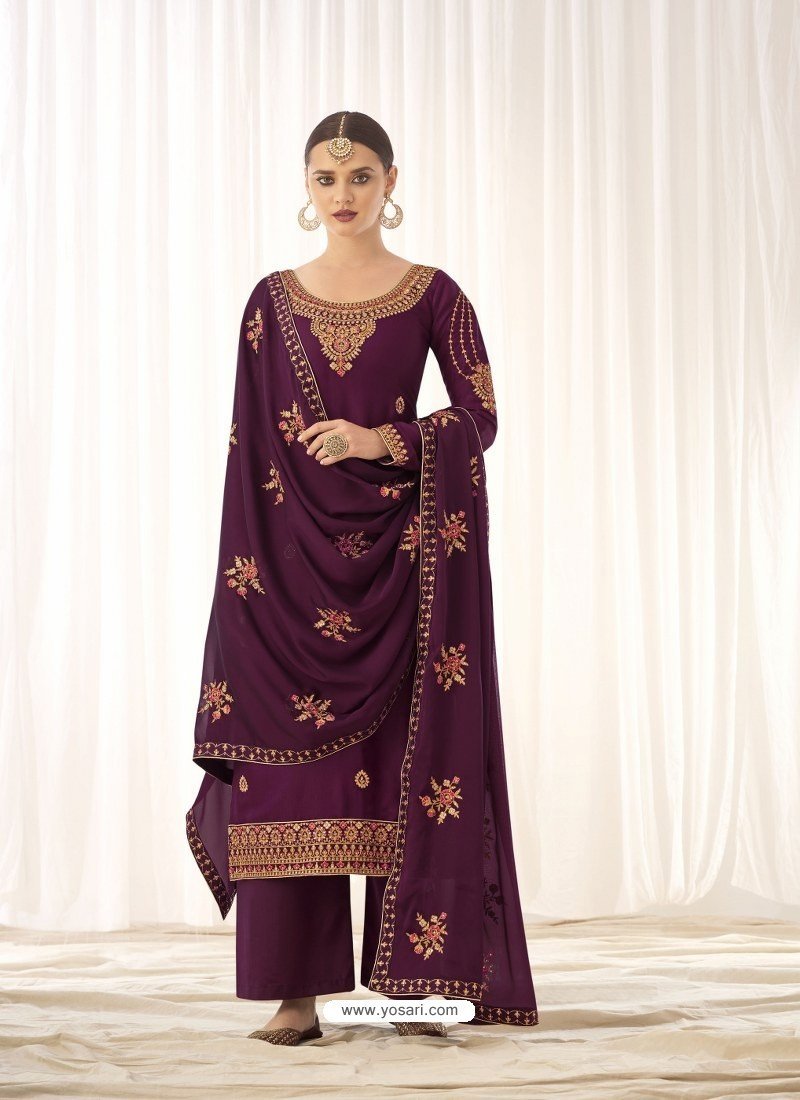 Purple Latest Designer Tussar Silk Salwar Suit
