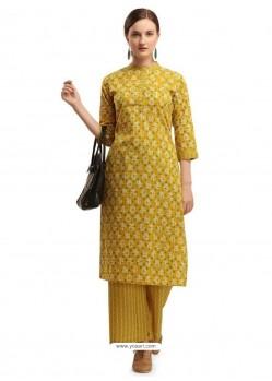 Yellow Designer Readymade Party Wear Kurti With Palazzo