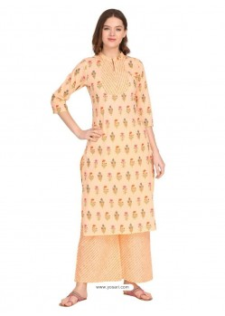 Light Orange Designer Readymade Party Wear Kurti With Palazzo