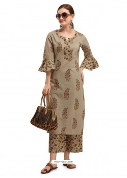 Taupe Designer Readymade Party Wear Kurti With Palazzo