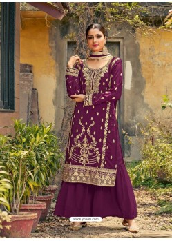 Purple Designer Faux GeorgetteᅠParty Wear Palazzo Suit