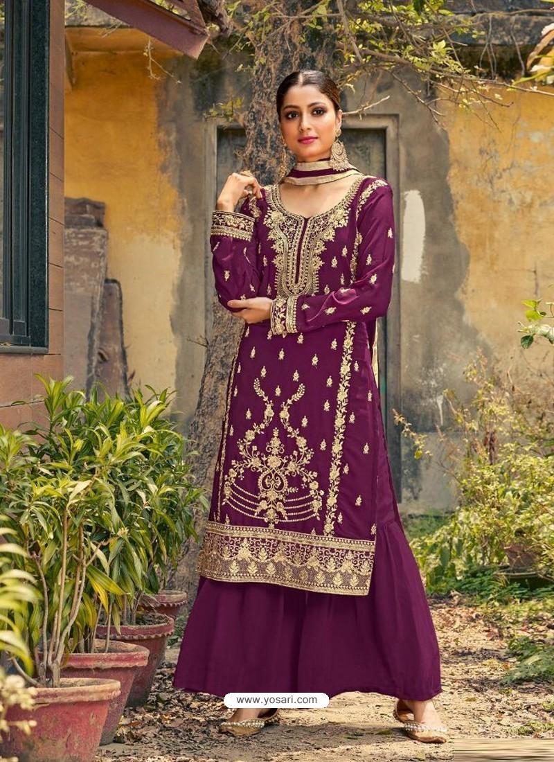 Purple Designer Faux GeorgetteᅠParty Wear Palazzo Suit