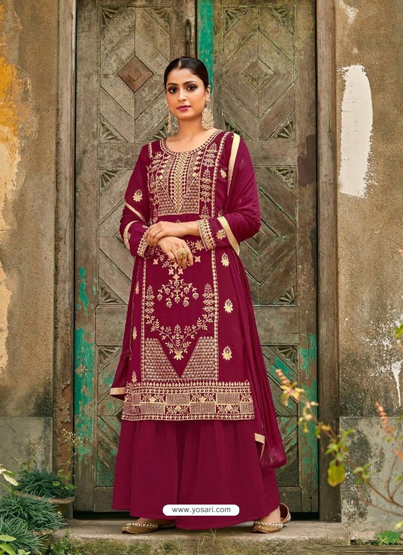 Rose Red Designer Faux GeorgetteᅠParty Wear Palazzo Suit