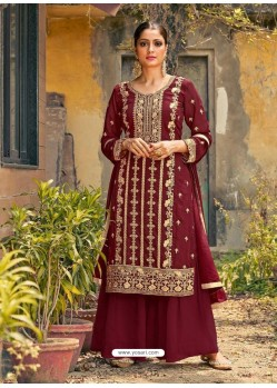 Maroon Designer Faux GeorgetteᅠParty Wear Palazzo Suit