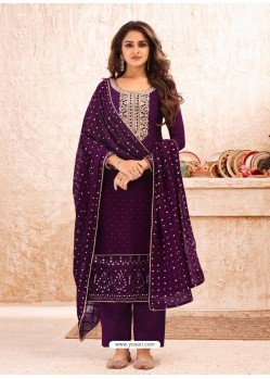 Purple Designer Real Georgette Party Wear Straight Suit