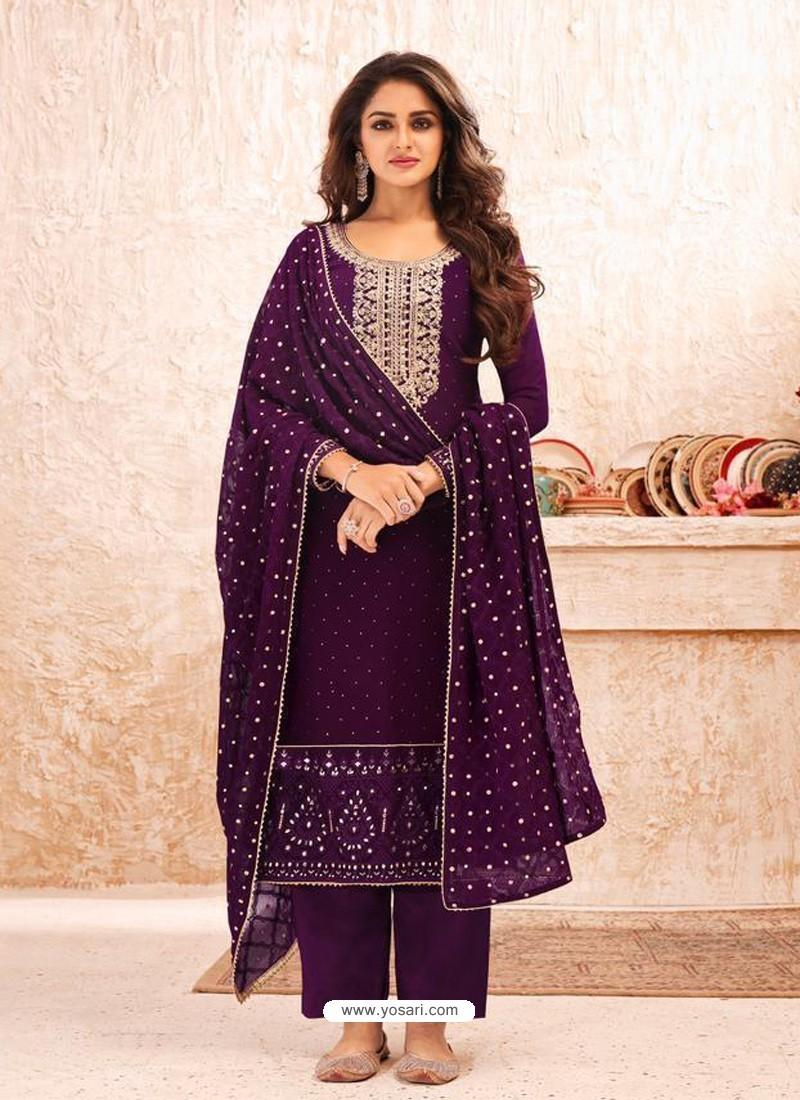 Purple Designer Real Georgette Party Wear Straight Suit