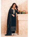 Teal Blue Designer Real GeorgetteᅠParty Wear Straight Suit