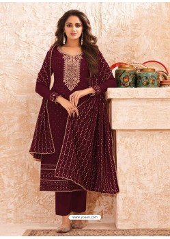 Maroon Designer Real GeorgetteᅠParty Wear Straight Suit