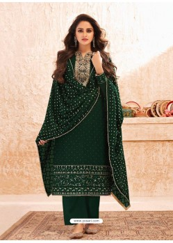 Dark Green Designer Real GeorgetteᅠParty Wear Straight Suit