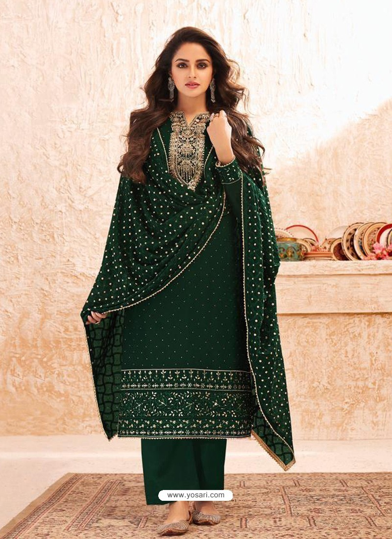 Dark Green Designer Real GeorgetteᅠParty Wear Straight Suit
