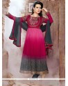 Especial Georgette Hot Pink And Red Resham Work Anarkali Salwar Suit