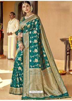 Teal Astonishing Designer Wedding Wear Silk Sari