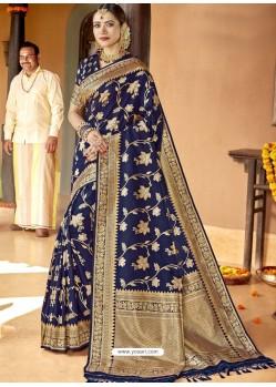 Dark Blue Astonishing Designer Wedding Wear Silk Sari