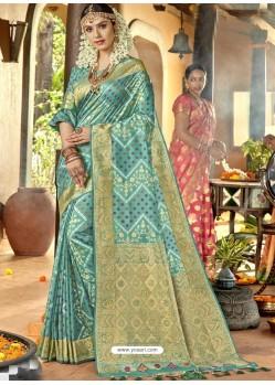 Sky Blue Astonishing Designer Wedding Wear Silk Sari