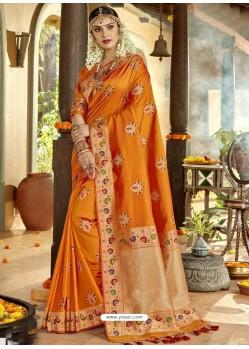Mustard Astonishing Designer Wedding Wear Silk Sari
