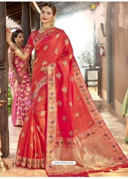 Dark Peach Astonishing Designer Wedding Wear Silk Sari