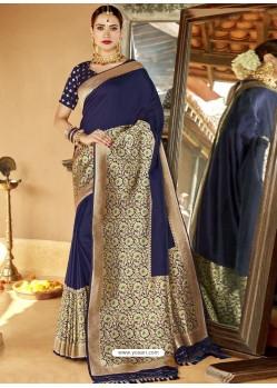 Navy Blue Astonishing Designer Wedding Wear Silk Sari