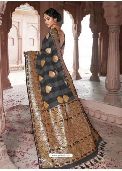 Black Astonishing Designer Wedding Wear Silk Sari