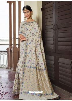Off White Astonishing Designer Wedding Wear Silk Sari