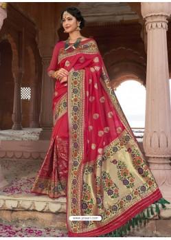 Rose Red Astonishing Designer Wedding Wear Silk Sari