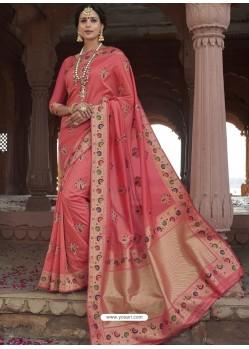 Peach Astonishing Designer Wedding Wear Silk Sari