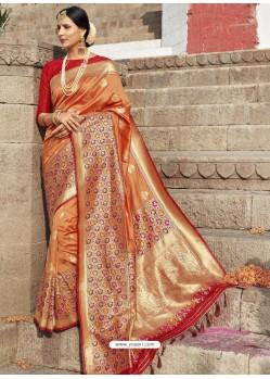 Orange Astonishing Designer Wedding Wear Silk Sari