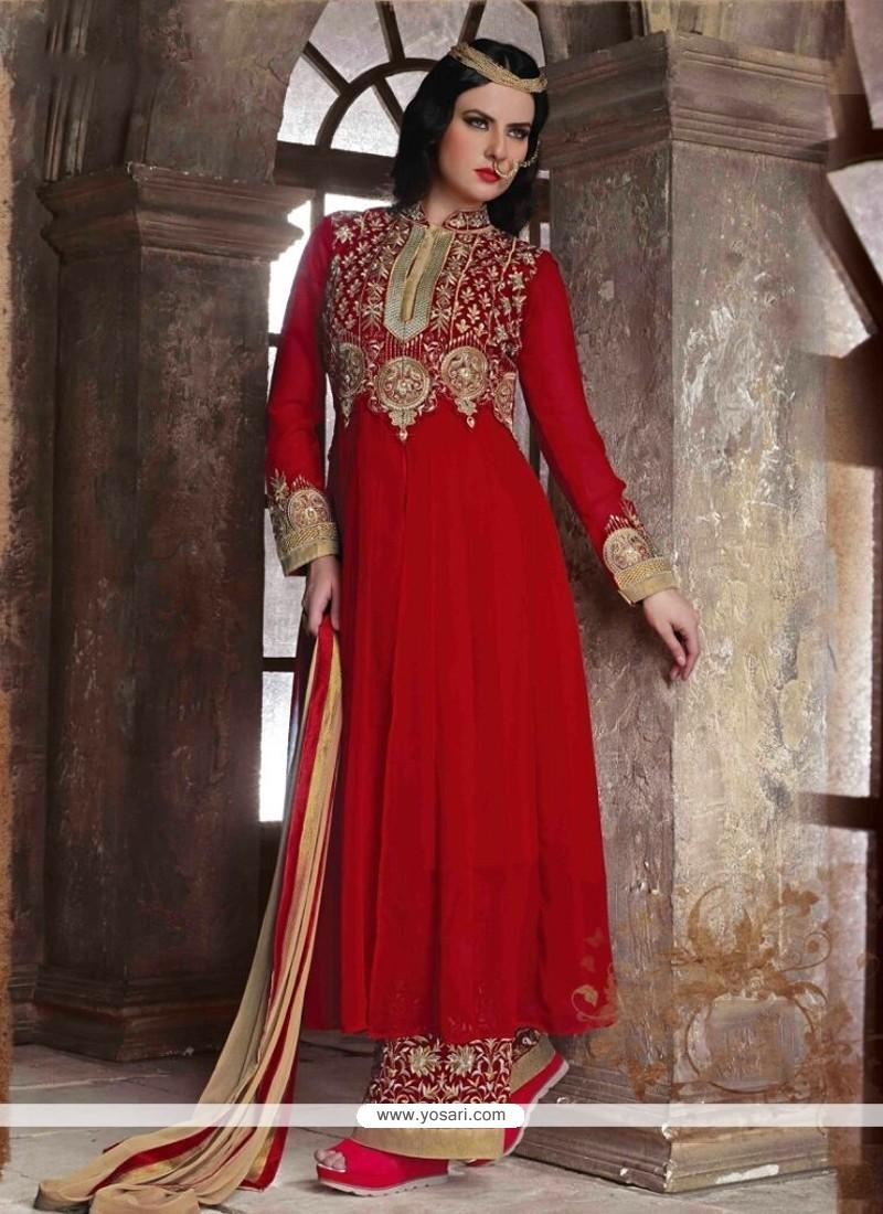 Deserving Red Designer Pakistani Suit