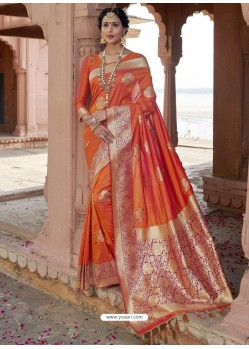 Orange Astonishing Designer Wedding Wear Silk Sari